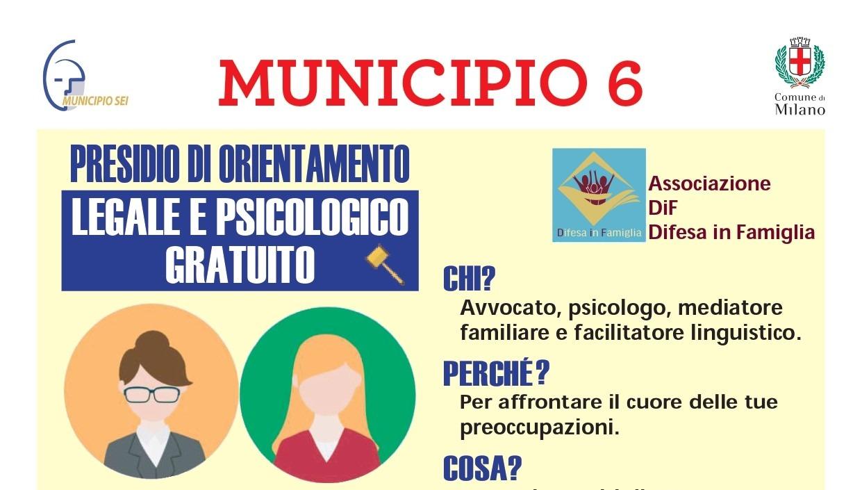 MUNICIPIO 6: SPORTELLO DI ORIENTAMENTO LEGALE E PSICOLOGICO INTEGRATO